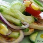 Салат из кукурузы с картофелем и овощным миксом